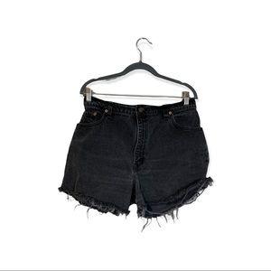 Vintage Levi's Cutoff Black High Rise Shorts USA Made 32